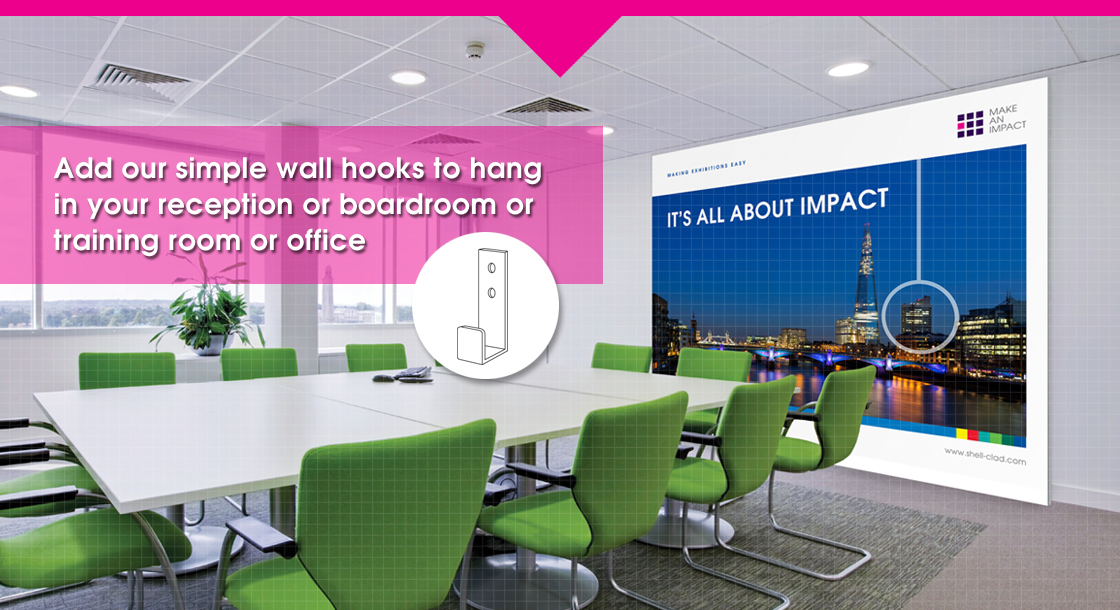 Add our simple wall hooks to hang in your reception or boardroom or training room or office
