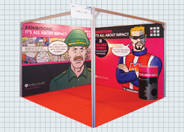 Clad with rollable panels to customise your exhibition stands